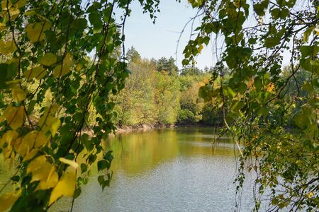 Small forest fishing lake in the beginning of autumn Imagens