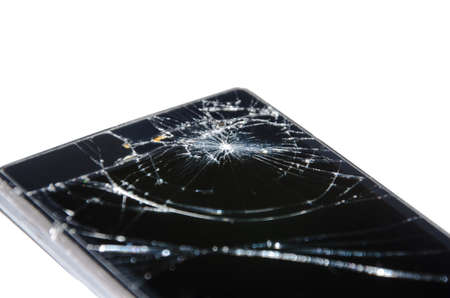 Broken mobile phone screen, black, white. Smartphone monitor damage mock up. Cellphone crash and scratch. Telephone display glass hit. Device destroy problem. Smash gadget, need repair.