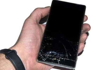 Broken mobile phone screen, black, white, . Smartphone monitor damage mock up. Cellphone crash and scratch. Telephone display glass hit. Device destroy problem. Smash gadget, need repair. Reklamní fotografie