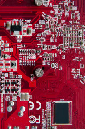 closeup graphics cards interface, video card, VGA card, video display board , computer chip,