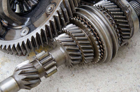 engine gears wheels, closeup view concept mechanical