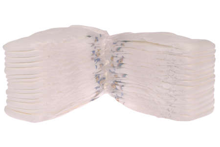 incontinence: Stack of baby diapers on white. Clipping path included.