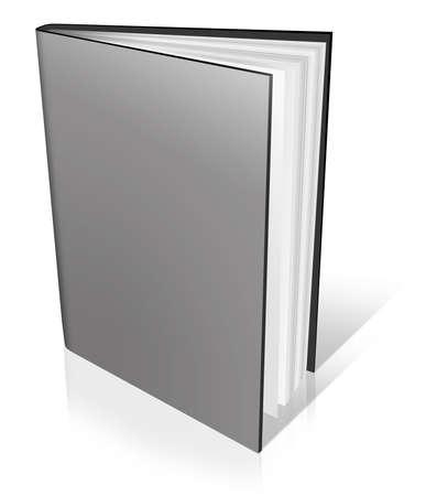 leeres buch: Grau leeres Buch-Vorlage auf wei�em Hintergrund.