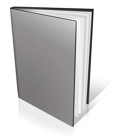 Grey empty book template on white background. photo