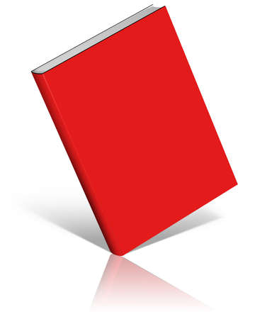 Red empty book template on white background.