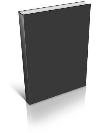 Black empty book template on white background