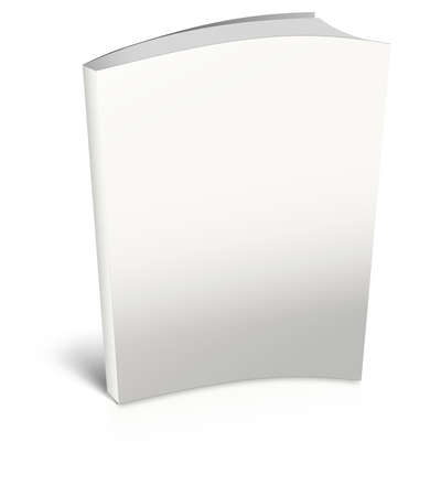 White empty book template on white background.