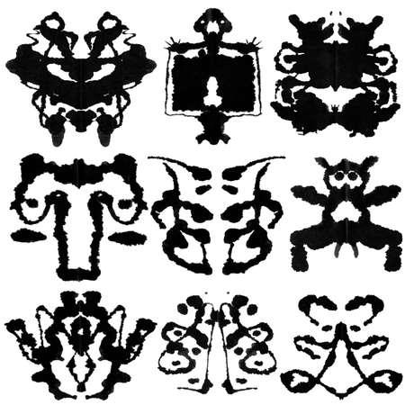 Nine ink blot for psychiatric evaluations. Stock Photo