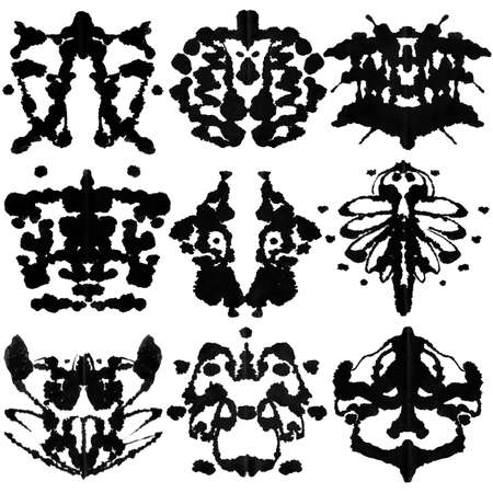 Nine ink blot for psychiatric evaluations. Stock Photo