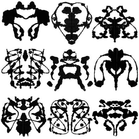 blot: Nine ink blot for psychiatric evaluations. Stock Photo