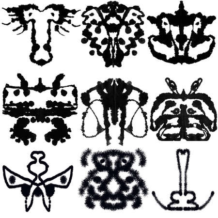 Nine ink blot for psychiatric evaluations. photo