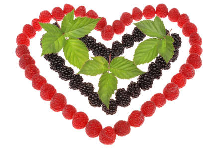 Heart made out of raspberries and blackberries. Top leaves of blackberry. On white background photo
