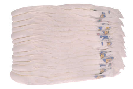 incontinence: Stack of baby diapers on white.  Stock Photo