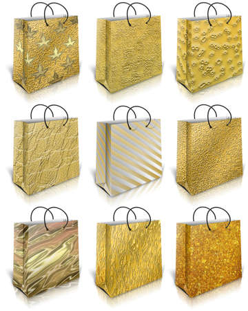 Nine gold gift bag isolated on white background photo