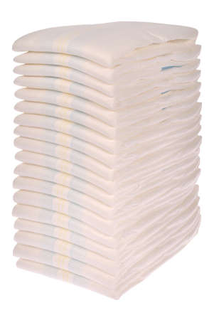 incontinence: XXLarge Stack of diapers on white. Stock Photo
