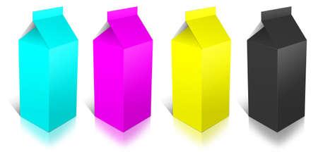 CMYK Milk Box on White Background