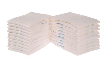 nappies: XXLarge Stack of diapers on white. Clipping path included.