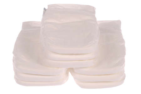 Stack of baby diapers on white. Clipping path included. Stock Photo - 11889580
