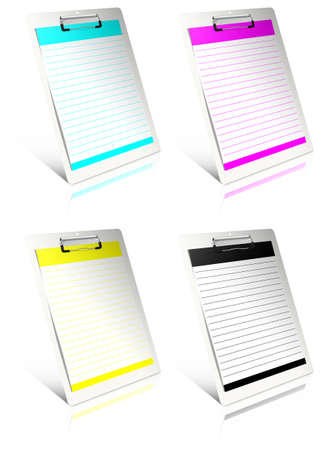 White clipboard with cmyk blank paper. Stock Photo - 11889590