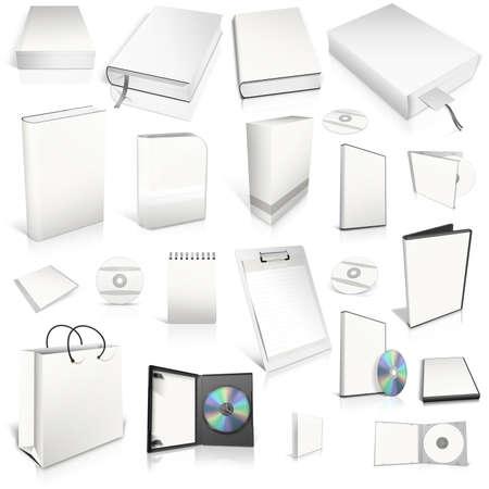 case: Blanco 3d colecci�n de telas en blanco, aislados en blanco Foto de archivo