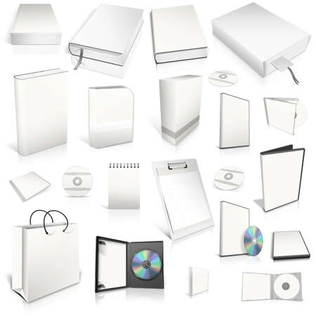 White 3d blank cover collection, isolated on white photo