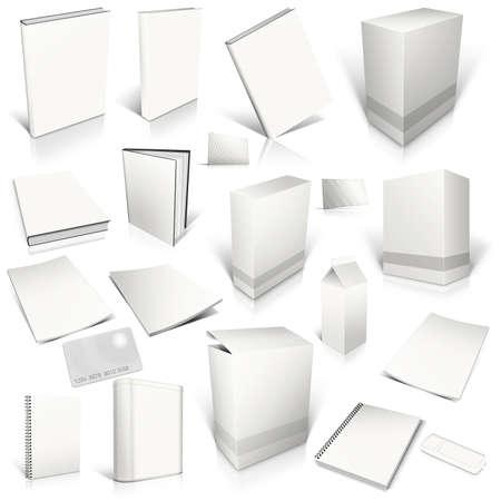 paperback: Bianco 3d raccolta copertina in bianco, isolato su bianco