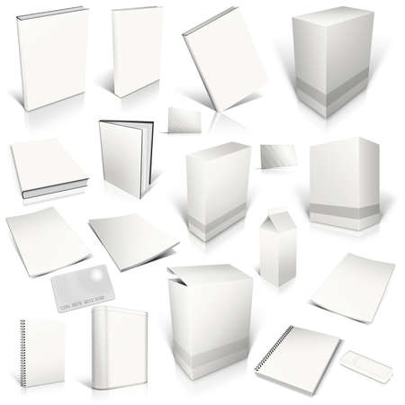 White 3d blank cover collection, isolated on white Фото со стока