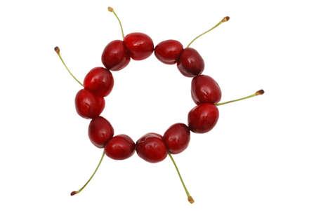 uncommon: Uncommon cherries on white.  Stock Photo