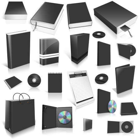 Black 3d blank cover collection, isolated on white Stock Photo - 12509143