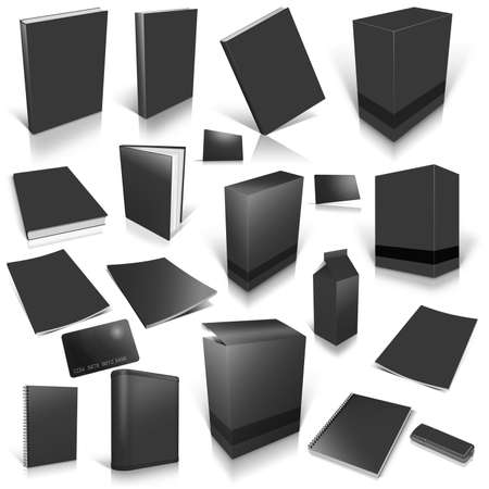 Black 3d blank cover collection, isolated on white photo