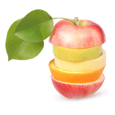 Cheerful mixed fruits with leaves including orange, pear, apple and lemon isolated on white.  photo