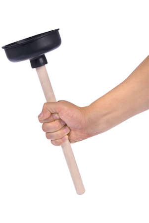 Hand holding plunger with wooden handle isolated on white