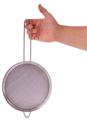 Metal colander in hand on a white  Stock Photo - 12872619