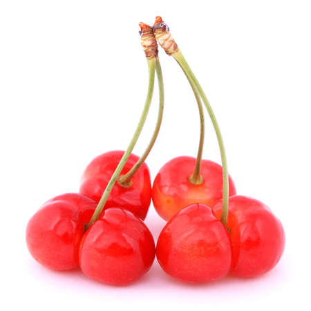 Uncommon red cherries isolated on white background photo