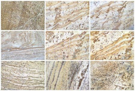 Nine Natural Limestone Background or textures. The real color. Without saturation of colors. Stock Photo