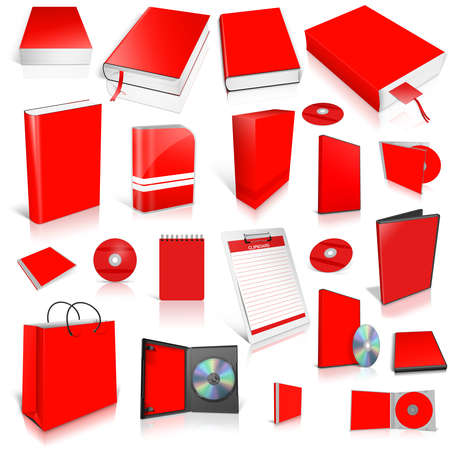 Red 3d blank cover collection, isolated on white photo