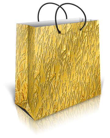 Gold gift bag isolated on white background photo