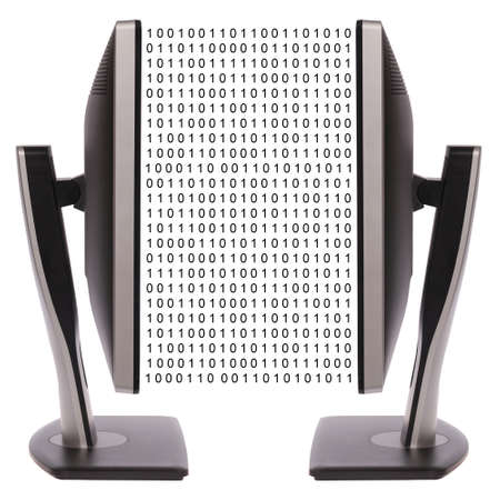 Two computer monitor on white background. Digital data exchange Stock Photo