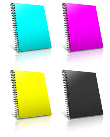 Spiral CMYK binder. Note pad with white