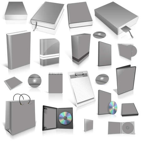 Grey 3d blank cover collection, isolated on white
