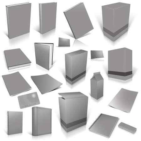 灰色の白で隔離され、ブランク カバーの 3 d コレクション