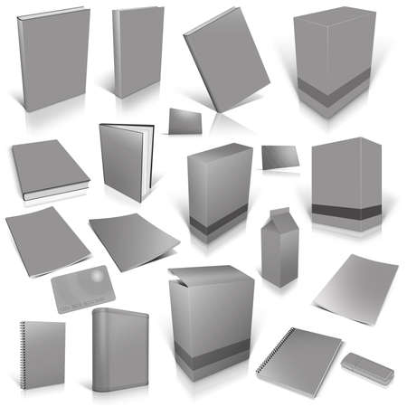 Grey 3d blank cover collection, isolated on white photo
