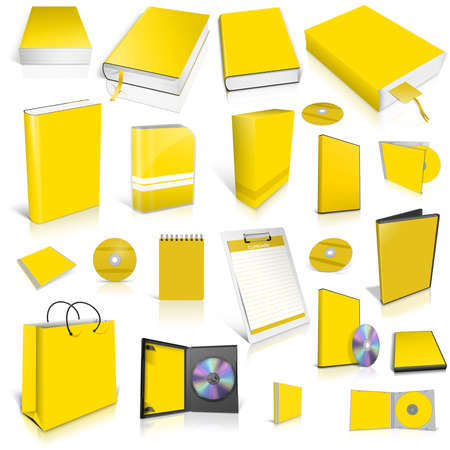 Yellow 3d blank cover collection, isolated on white photo
