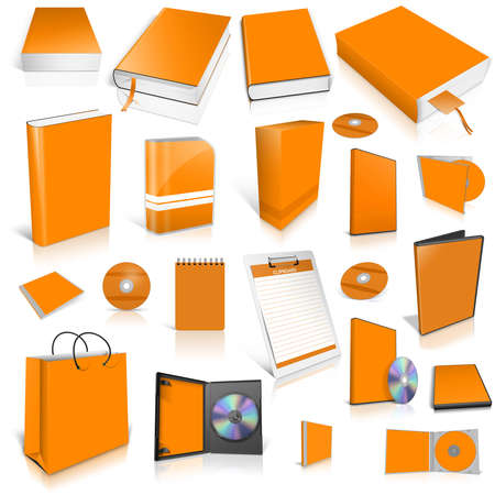 Orange 3d blank cover collection, isolated on white photo