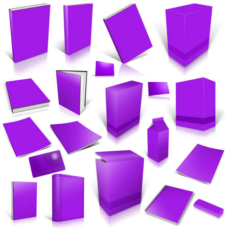 Violet 3d blank cover collection, isolated on white photo