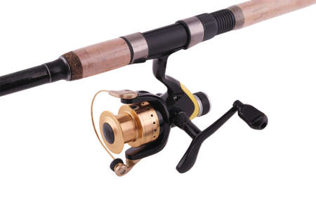 fishing rod, reel, isolated over white Stock Photo - 16662230