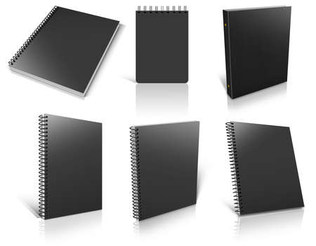 Six black spiral blank notepad on white. Ready to be personalized by you.  photo