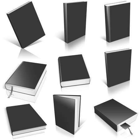 Nine black empty book template on white background.