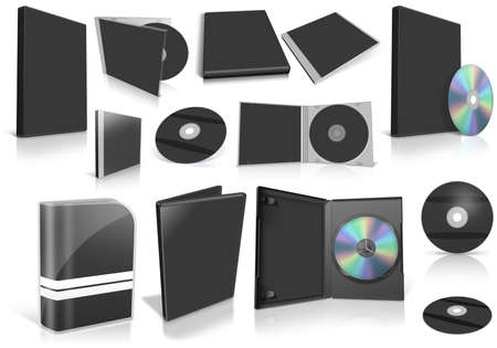 Black multimedia disks and boxes on white background. Ready to be personalized by you.  photo