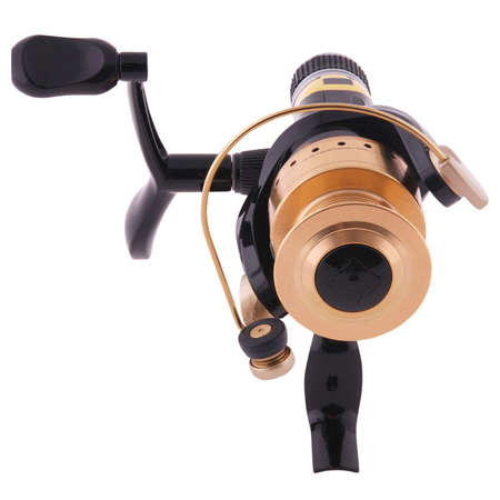 fishing reel, isolated over white, clipping path inside